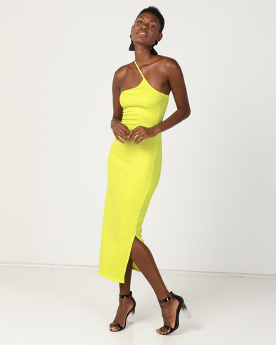 Brett Robson Frida Scuba Bodycon Dress With Asymetrical Strap Lime