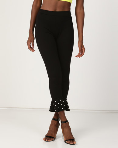 Brett Robson Zama Ponte Leggings With Pearl Detail on Ruffle Hem Black