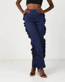 Brett Robson Zinzi Ruffle Side Pants With Side Slit Navy