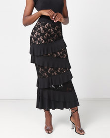 Brett Robson Coco Lace Ruffle Maxi Skirt With Nude Lining Black