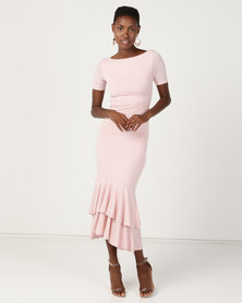 Brett Robson Blush Double Ruffle Dress Pink