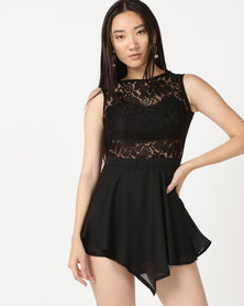 Zip-Code Sleeveless Lace Bodice With Scallop Edge Open Back, Trilobal Under Bra & Georgette V Skirt Over Shorts Black
