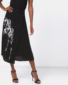 Cheryl Arthur Asymmetrical Wrap Skirt Black