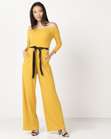 Zip-Code Off Shoulder 3/4 Sleeves Wide Leg Jumpsuit With Satin Ribbon Gold