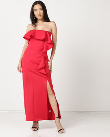 Zip-Code Boobtube Maxi Dress With Side Waterfall Detail And Thigh High Slit Red