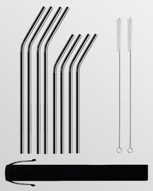 Gretmol Online Reusable Stainless Steel Bent Straws 8 Pack Black