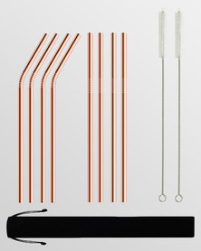 Gretmol Online Reusable Stainless Steel Straws With Brush 8 Pack Copper