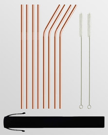 Gretmol Online Reusable Stainless Steel Long Straws 8 Pack Copper