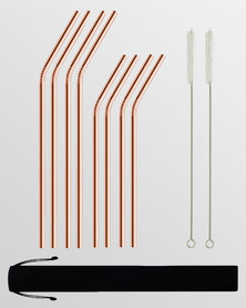 Gretmol Online Reusable Stainless Steel Bent Straws 8 Pack Copper