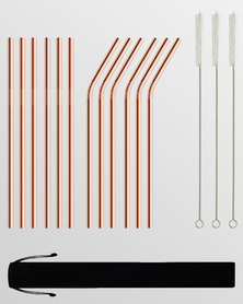 Gretmol Online Reusable Stainless Steel Straws With Brush 12 Pack Copper