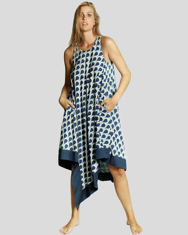 Basic Journey T-point Dress Blue Leaf