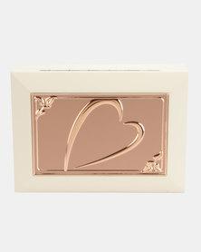Splosh Jewellery Box Embossed Heart Design Rose Gold And Cream