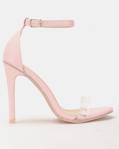 Miss Black Rowan Barely There Heels Pink