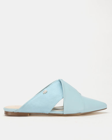 Miss Black Bokang Pointy Mules Blue