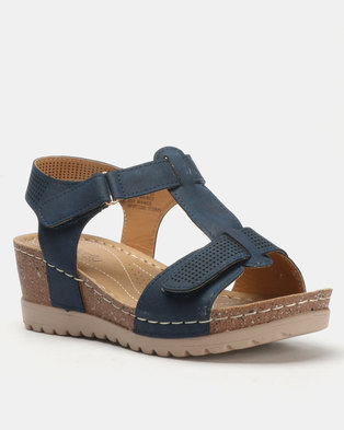 320614243445 Butterfly Feet Siya Wedges Navy