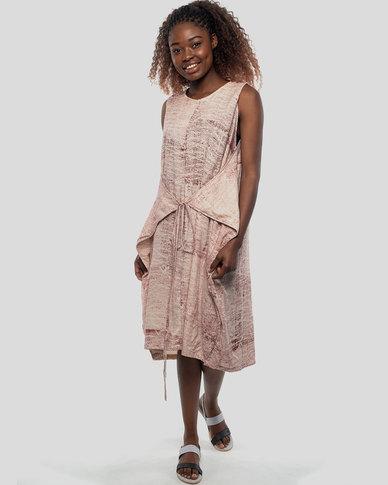 Basic Journey Chunky Tie-back Dress Maroon Block Print