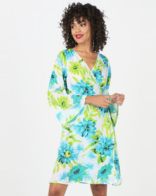 Kaku Designs Floral Printed Wrap Dress Blue/Green
