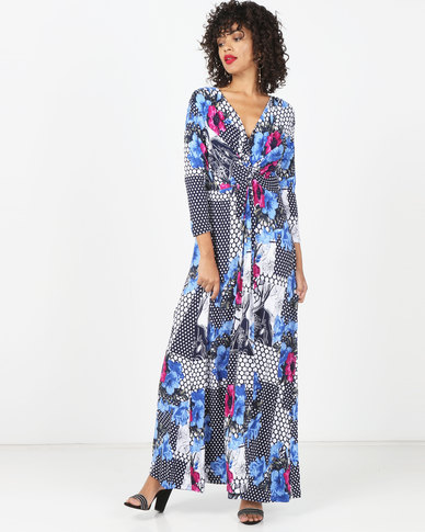 Kaku Designs Front Knot Maxi Dress Blue