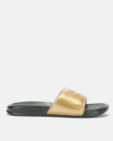 9a9e8a258e0feb Nike Benassi Jdi Print Slides Black Metallic Gold