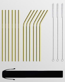 Gretmol Online Reusable Stainless Steel Straws With Brush 12 Pack Gold