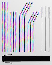Gretmol Online Reusable Stainless Steel Straws 12 Pack Combo Rainbow
