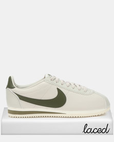 Nike Classic Cortez Leather Sneakers Light Bone/Olive Canvas Sail