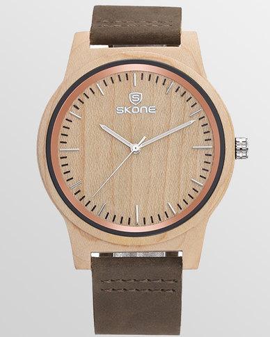 c98b096aa Skone Men's Croydon Wooden Watch Brown Strap | Zando