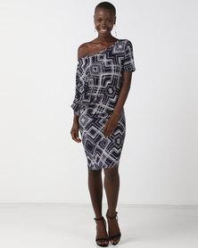 N'Joy Off  SHoulder Printed  Dress Multi