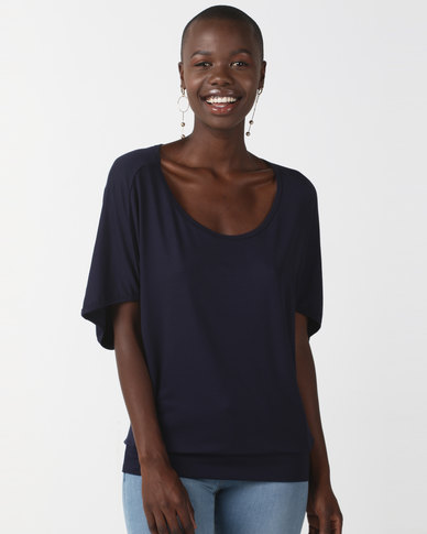 N'Joy Batwing Top Navy