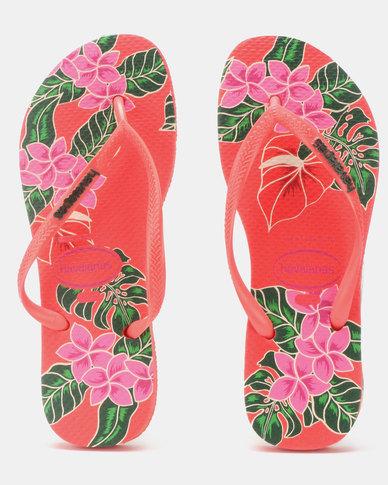 1257c3f304b01 Havaianas Slim Floral Flip Flops Coral
