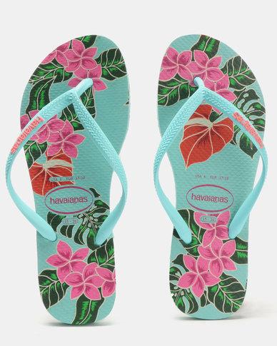 14b6124d479e47 Havaianas Slim Floral Flip Flops Ice Blue