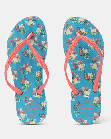 3285e492c70bf Havaianas Slim Romance Flip Flops Turquoise