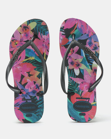 f14850d205e Havaianas Slim Tropical Flip Flops Black