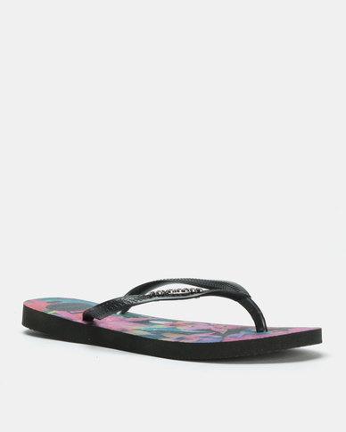 Havaianas Slim Tropical Flip Flops Black