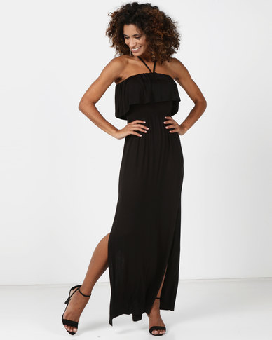 Legit Frilled Halter Maxi Dress Black