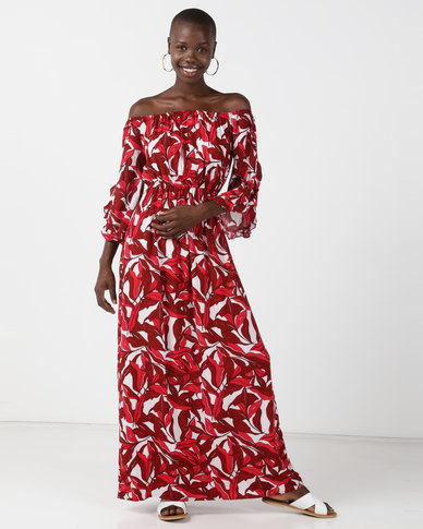 02eb4b46d5 Legit Leaf Print Bardot Frill Sleeve Maxi Dress Rust