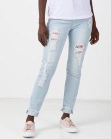 Legit Floral Patch Abraised Skinny Jeans Stonewash