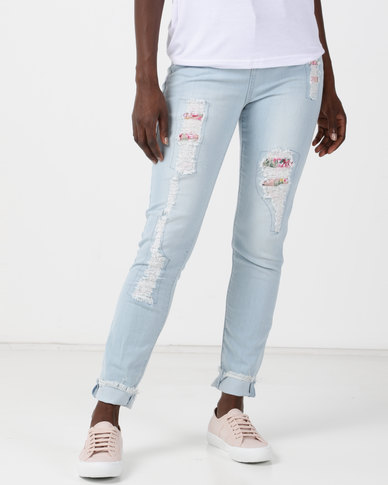 Legit Floral Patch Abraised Skinny Jeans Stonewash