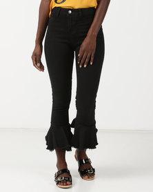 Legit Mermaid Cuff Skinny Jeans Black