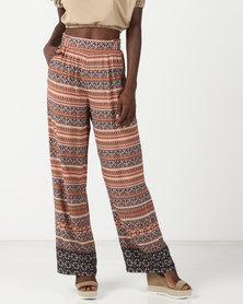 Legit Indie Border Print Wideleg Pants Multi