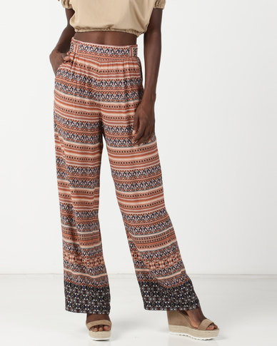 Legit Indie Border Print Wideleg Pants Multi
