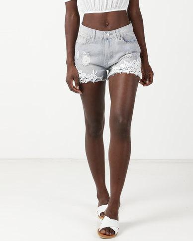 Legit Denim Lace Trim Cheeky Shorts Bleach