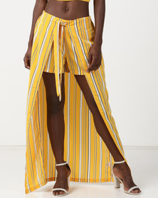 Legit Striped Shorts & Maxi Skirt Combo Yellow