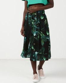 Legit Tropical Print Flare Midi Skirt Dark Green