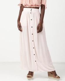 Legit Stripped Button Front Maxi Skirt White
