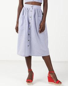 Legit Striped Button Through Flare Midi Skirt White