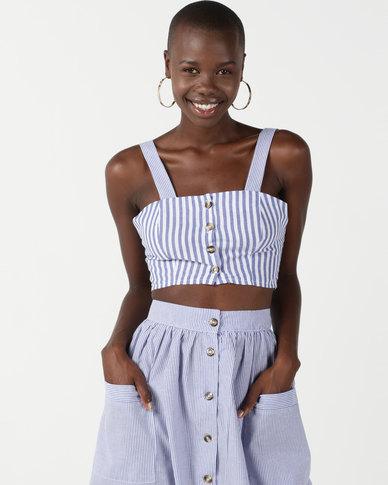 Legit Striped Square Neck Button Through Cami White