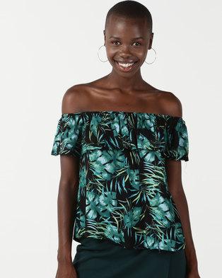 7a47231a97747 Legit Tropical Print Bardot Frill Top Multi