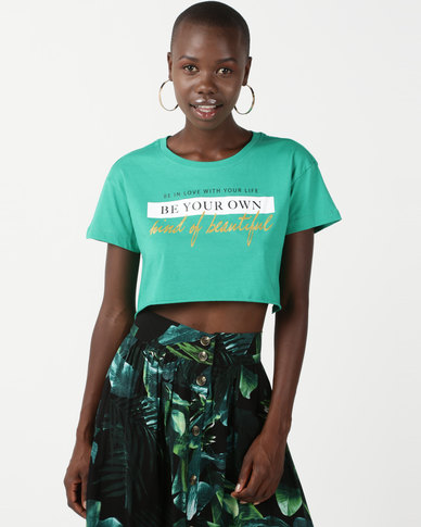 Legit Slogan Raw Hem Crop Tee Green