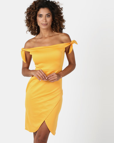 Legit Tie Detail Off The Shoulder Wrap Skirt Bodycon Mustard